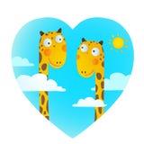 Den roliga tecknade filmen behandla som ett barn giraffdjur som är förälskade för att dra för ungar Royaltyfri Foto