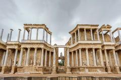 Den Roman Theatre prosceniet i Merida, främre sikt Royaltyfri Fotografi