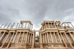 Den Roman Theatre prosceniet i Merida, ultra bred sikt Royaltyfri Fotografi