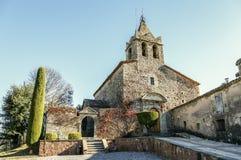 Den romanic kyrkan av Santa Maria de Sau i Vilanova de Sau, Spanien Arkivbilder