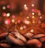 Romantisk bakgrund för vektor med nära kaffebönor stock illustrationer