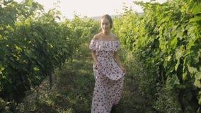 Den romantiska flickan i klänningen går i vingårdarna lager videofilmer
