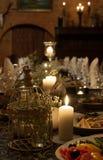 Den romantiska matställen bordlägger Royaltyfri Fotografi