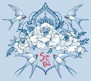 Den romantiska `-räddningen datum`-kortet med svalor, pion blommar och den dekorativa ramen vektor illustrationer