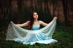 Den romantiska unga flickan i en lång blått klär, i skymningskog Arkivfoto