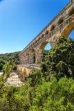 Den romerska akvedukten av Pont du Gard, Frankrike Royaltyfri Bild