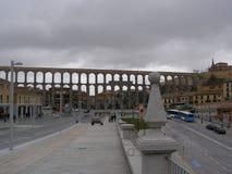 Den romerska akvedukten i Segovia Spanien Royaltyfri Foto
