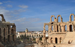 Den romerska amfiteatern i El-Jem Arkivbild