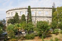 Den romerska amfiteatern i Pula arkivbilder