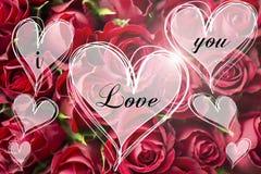 Den rosa buketten en förälskelse card du meddelandet i hjärtaljushjärtor valentin Royaltyfri Bild