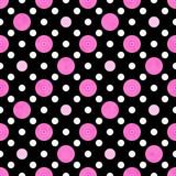 Den rosa färg-, vit- och svartpolkaen pricker tygbakgrund Royaltyfria Bilder
