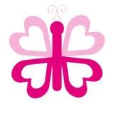 Den rosa fjärilen med hjärta påskyndar på vit bakgrund Vektor Illustrationer