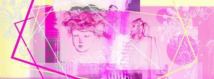 Den rosa löparen för sociala nätverk för kvinnor planlägger beståndsdelar älskar hjärtor royaltyfri illustrationer