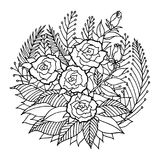 Den rosa logoen för mandalasymbolssymbolet, blommar det blom- bladet, vektorhandteckning Arkivfoto
