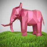 Den rosa metalliska låga poly elefanten framför Vektor Illustrationer