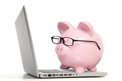 Den rosa svin- och anteckningsbokdatoren Royaltyfri Fotografi