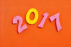 2017 in den rosa und gelben Zahlen Lizenzfreies Stockbild