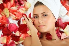 In den rosafarbenen Blumenblättern Stockbilder