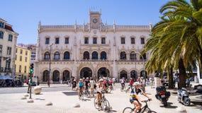 Den Rossio järnvägen posterar, Lisbon Royaltyfri Bild