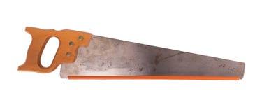 Den rostade antika snickarehanden såg med det wood handtaget Fotografering för Bildbyråer