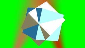 Den roterande abstrakta geometriska kroppen 3d komponerade av två kuber på den gröna skärmen, rött ljuspunktljus på bakgrund lager videofilmer