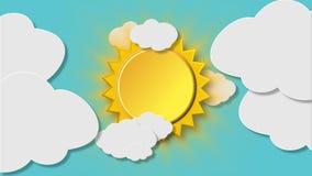 Den roterande glänsande solen avslöjer bak det täta sväva molnet lager videofilmer