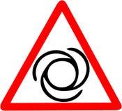 Den roterande maskinen för delmaskinvarning innehåller den roterande illustrationen för styckanställningstrygghetsymbolen Röd för Royaltyfri Foto