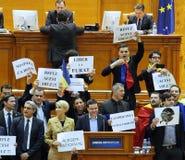 Den rumänska parlamentet - protestera agains dekretet som ändrar Crien Royaltyfri Fotografi