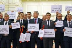 Den rumänska parlamentet - protestera agains dekretet som ändrar Crien Royaltyfria Foton