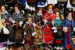 Den rumänska folken kostymerar dockor Fotografering för Bildbyråer