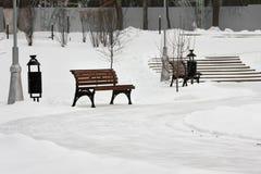 Den runda ökenbanan med trädgårdbänkar i vinter parkerar Arkivfoton