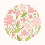 Den runda blom- bakgrunden eller den runda dekorativa designbeståndsdelen som komponeras av härligt rosa blomma, blommar, slår ut Arkivbild