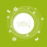 Den runda blom- ramen med stället för text med fjärilen och blommor Arkivfoton