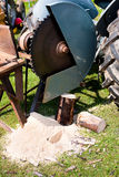 den runda detaljen såg traktortappning Arkivfoto