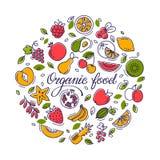 Den runda illustrationen med frukt och text för shoppar och att skriva ut, websitedesignen stock illustrationer
