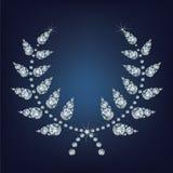 Den runda kransen för vete för lager för utmärkelsesegermästare och den bladiga kransen utgjorde många diamanter Royaltyfria Bilder