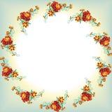 Den runda kransen från orange ringblomma blommar, ringblomman, sidor och Royaltyfri Fotografi