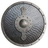 Den runda lantliga metallskölden som täcktes av våg, isolerade illustrationen 3d arkivfoto
