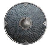 Den runda lantliga metallskölden som täcktes av våg, isolerade illustrationen 3d vektor illustrationer