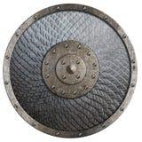 Den runda lantliga metallskölden som täcktes av våg, isolerade illustrationen 3d royaltyfri illustrationer