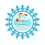 Den runda logoen gillar en snöflinga med Santa Claus Royaltyfria Foton