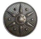 Den runda metallskölden som täcktes av våg, isolerade illustrationen 3d vektor illustrationer