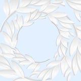 Den runda ramen av vitbok förgrena sig, och sidor i pastellblått tonar Arkivfoton