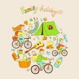 Den runda vektorillustrationen med den vänliga familjen och att campa utrustar Fotografering för Bildbyråer