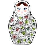 Den ryska dockamatrioshkaen Babushka skissar på vit bakgrund Arkivbild
