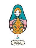 Den ryska dockan är gullig Färgrikt kort med den gulliga ryssdockan Arkivbilder