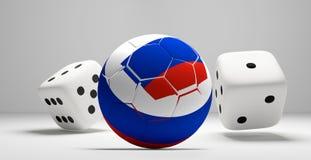 Den ryska kulöra den fotbollfotbollbollen och rullningen tärnar vit 3d royaltyfri illustrationer