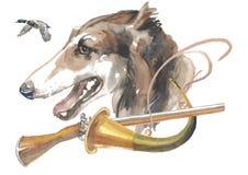 Den ryska vinthunden, designer för jägarehundkapplöpningkortet, den redigerbara logoen, kan du skriva in din logo eller text Royaltyfria Foton