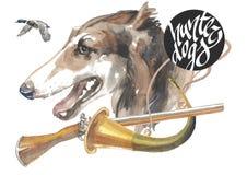 Den ryska vinthunden, designer för jägarehundkapplöpningkortet, den redigerbara logoen, kan du skriva in din logo eller text Royaltyfria Bilder