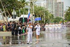 Den Ryssland marinen ståtar marsch i den internationella hastiga granskningen 2017 royaltyfri fotografi